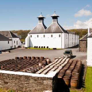 A distillery, with many whisky casks