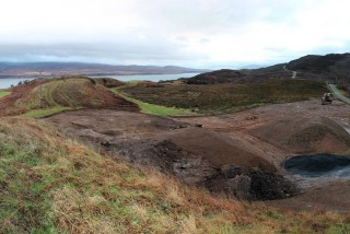 Earthworks beginning during the construction of the Ardnahoe Distillery